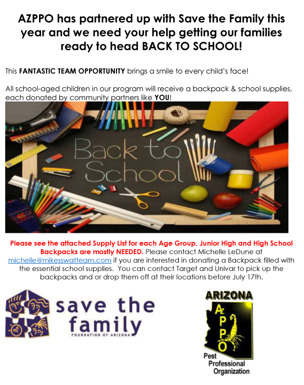 AZPPO Save the Family Backpack Drive